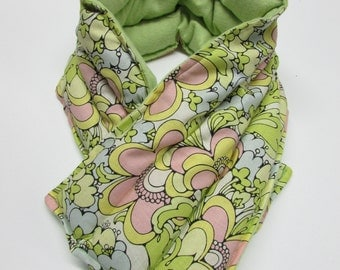 LONG Hot/Cold Therapy Neck Wrap Pastel Groovy Flowers