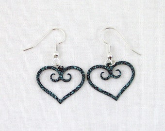 Teal Speckled Swirl Hearts - Metal Earrings