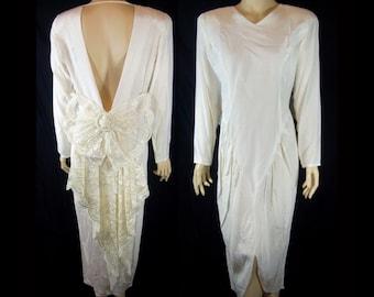 Vintage 1980s Cream Ivory Dress Sz 10 Open Back Lace Bow Ankle Length Prom Wedding Miss Ashlee