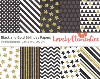 Black and gold birthday papers 12x12,  birthday digital papers, royalty free- Instant Download