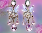 Light Rose Pink Crystal Fairy Chandelier Earrings, Fantasy Jewelry, Titania Fairies, Angels, Pink & Purple, Sparkly!, Clip-On Option