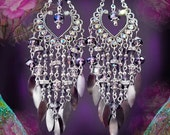 "Violet Crystal Silver Chandelier Charm Earrings, Bohemian Jewelry, 5"" Long Peacock Rhinestone Chandelier Earrings, Sparkly Purple, Bronze"
