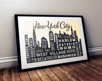 New York City Skyline, New York Retro Poster, NYC Skyline, Typography Wall Art, City Skyline, Cityscape Poster, NYC Map