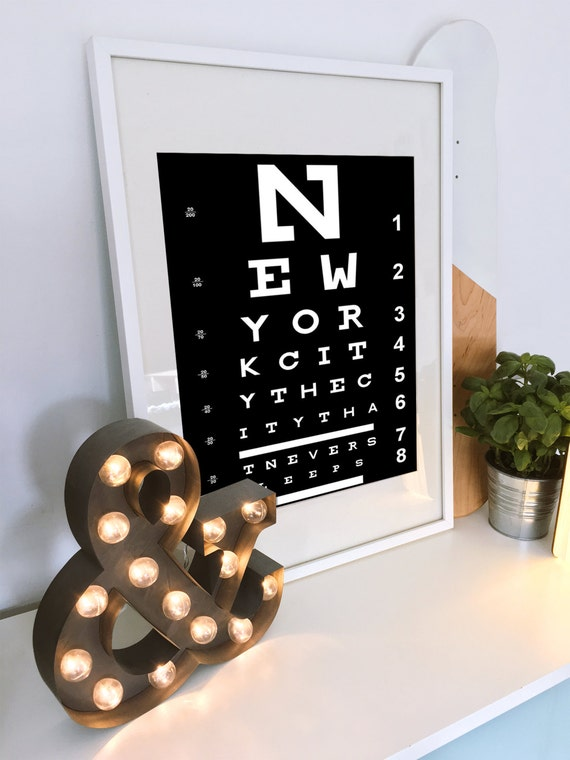 Eye Chart Wall Art - Unique Birthday Gift - New York City Typography - Bathroom Art - Gift for girlfriend