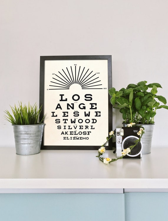 Los Angeles - California - Eye Chart Poster - Gift for Best Friend - Art Print - Modern Decor - Black and White - Typography - Scandinavian