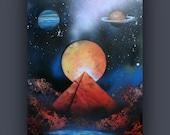 "Original Abstract Painting- Planet - Space - Galaxy - Saturn - Neptune - Venus ~ 20""x30"""