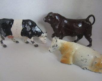 Antique Cast Iron Cow Bull Animals England Britains LTD Lot of Three