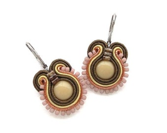Brown Earrings Neutral Drop Earrings Soutache Earrings Brown Dangle Earrings Small Drop Earrings Neutral Earrings Brown and Beige Earrings