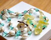 Gemstone necklace, Citrine bohemian hand knotted necklace, fresh water pearl necklace, yellow, shell button, green, white, glass, SALE