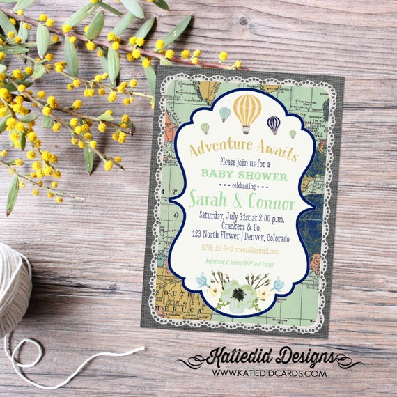 Adventure awaits baby shower invitation gender neutral reveal map hot air balloon flowers burlap sip and see world travel 1467 diaper world
