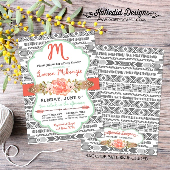tribal baby shower invitation mint BOHO bridal shower wedding arrows feathers gender neutral gender reveal item 1432 shabby chic invitations