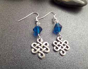 Celtic Knot Earrings, Infinity knot Charms with Turquoise Blue Beads. Scottish earrings, Irish Silver Celtic Jewelry, Eternity Knot earrings