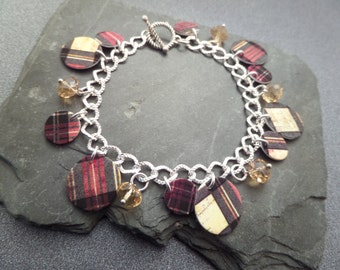 Scottish Charm Bracelet with Tartan Charms and Glass Beads, Red and Yellow, Outlander Clan Jewelry, Highland Dance, Gift from Scotland