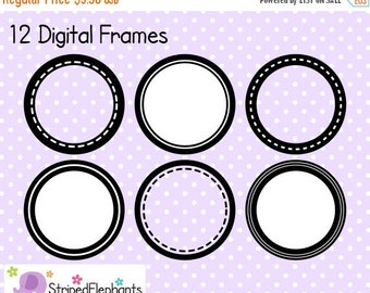 50% OFF SALE Circle Digital Frame Collection 1 - Clip Art Frames - Instant Download - Commercial Use