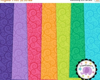 50% OFF SALE Swirly Digital Paper Pack, swirly digital scrapbook paper, digital background, Instant Download - Commercial Use