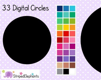 Digital Circles - Clipart Circles - Instant Download - Commercial Use