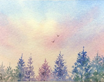 ACEO Original watercolor painting - Colorful pines