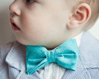 Turquoise Silk Bow Tie for Men and Boys - Clip on, pre-tied adjustable strap, self tying