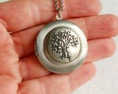 Tree Locket Necklace, silver vintage style antique photo message nature family life bonsai Asian Japanese pendant gift birthday