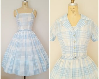 Vintage 1950s Sundress and Jacket Set / Blue and White Houndstooth Plaid / Spaghetti Straps / XS