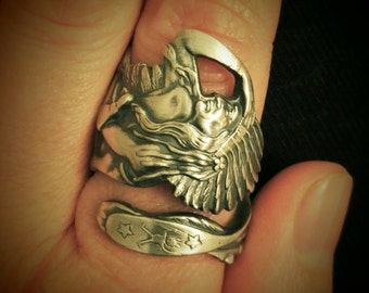 Native American Ring, Indian Headdress, Indian Chief Ring, Sterling Silver Spoon Ring, Southwestern Handmade Gift, Custom Ring Size (6168)