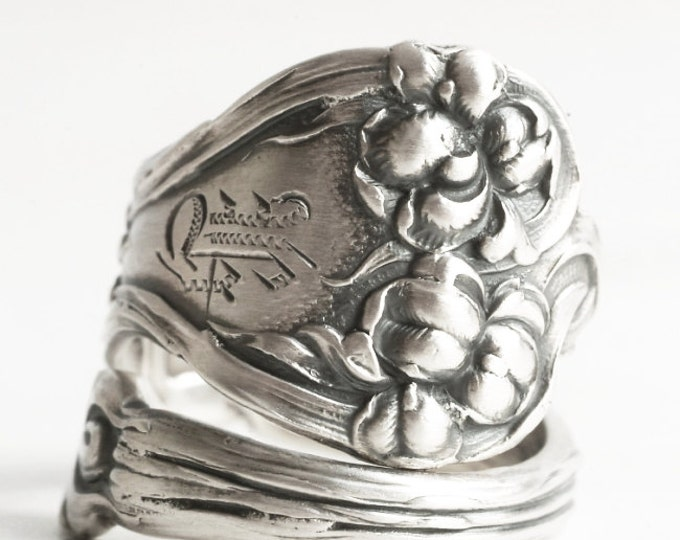 Iris Flower Ring, Sterling Silver Spoon Ring, Vintage Alvin Co Majestic of 1900, Engraved K, Handmade Gift, Customized Ring Size (6210)