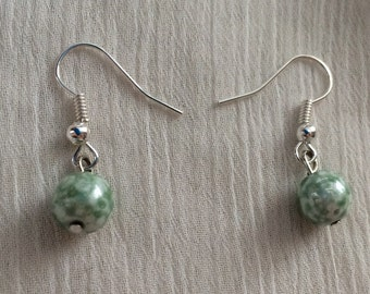 Silver Green Round Glass Earrings