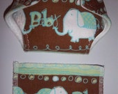 Baby Doll Diaper/wipe - light turquoise, brown and white baby elephant nursery print   - adjustable for many dolls such as bitty baby