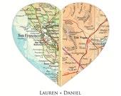 Valentines Gift, Heart Map Art, Long Distance, Valentines Day Gift Valentine Gift for Him Valentine Gift for Her Personalized Map Heart Gift