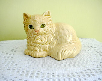 Vintage Goebel West Germany Cream Persian Cat Figurine China Kitty Ornament Cat Lying Down