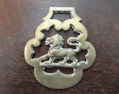 Vintage English Lion Horse Brass Tack Martingale Hanging Decorative Fireplace Lucky Charm circa 1920's / English Shop