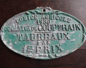 Vintage French agricultural farming beef cattle cow livestock winner green metal prize trophy plaque agriculture farm 1980 / English Shop