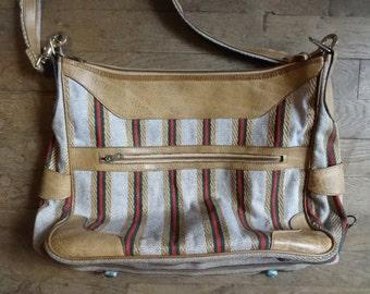 Vintage English Shoulder Bag Brown Red Handbag Carry Case Carrier Soft Accessories Hand Bag circa 1980-90's / English Shop