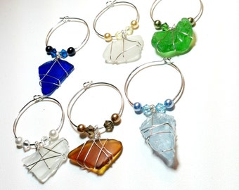 Wine Charms, Beach glass, wedding favors, bridal shower gifts, finger lakes, housewarming gift, gifts for couples, set of 6, unique gift