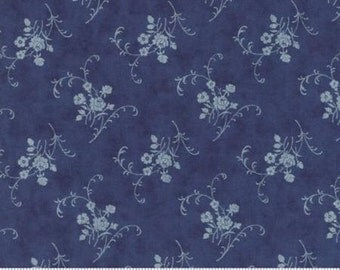 Grand Traverse Bay Floral Reproduction Sleeping Bears Dark Blue 14826 25  by Minick & Simpson for Moda