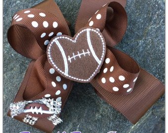 Heart Football Boutique Hairbow