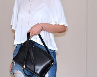 Rare Black Leather Legacy Equestrain Coach Shoulder Bag