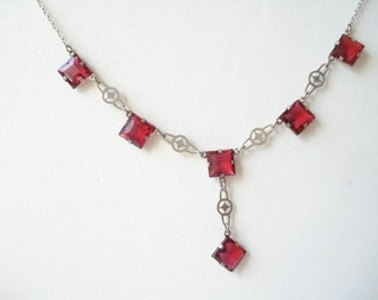 Art Deco Necklace Red Glass Drops and Pendant 1920's 1930's