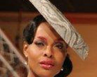 Design Ronald Kolk Haute couture made by me sinamay grey silvery sequined saucer hat on comb