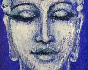 Stone Buddha painting meditation art zen original art 7 x 5""