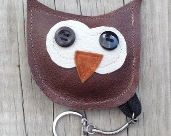 Owl Keychain from Repurposed Leather Jackets and Vintage Buttons