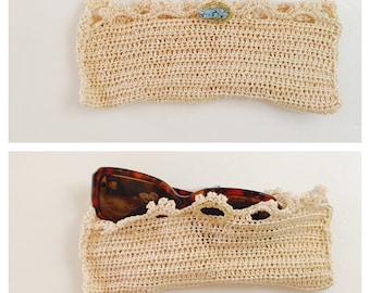 Crochet Glasses Case/Carrier, Natural Color, 100% Cotton, Hand Made in the USA, Item No. BDE005