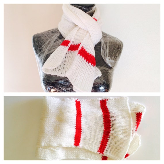 White Scarf, Red Stripes, Knit Unisex Accessory, Hand made in the U S A, Item No. BDE004