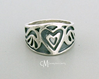 Heart With Wings Ring - Silver Heart Ring - Angel Ring - Handmade Heart Ring - Angel Wings Ring
