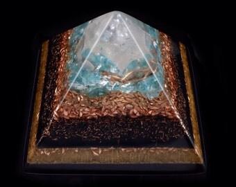 2 lb. Orgonite Orgone Generator Pyramid with Arkansas Crystal, Apatite Rhodizite Petalite Phenacite Moldavite Selenite Shungite Tourmaline