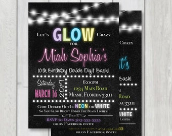 Glow party Chalkboard Invitation, Neon party printable invitation, black light party invite, Glow neon party invitation, Pink & Blue invite