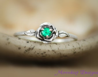 Delicate Emerald Rose Engagement Ring in Sterling - Silver Diamond Alternative Rose Bridal Anniversary Promise Ring - May Birthstone