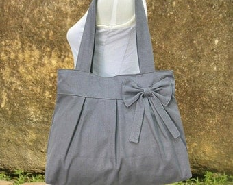Gray canvas tote bag, fabric shoulder bag for women