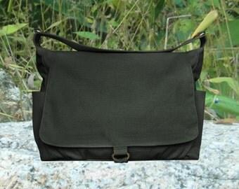 black cotton canvas shoulder bag, school bag and travel bag for men and women