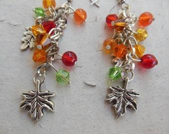 "Autumn, Fall Leaf earrings  Orange, Red, Green Crystal Beads.  2 1/4"" long.  Silver"